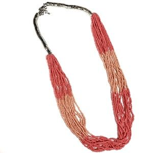 Jewelry - Silver and Coral Beaded Layered Necklace